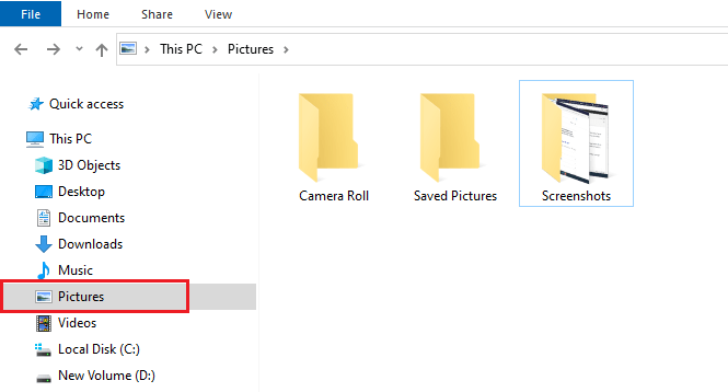 Save screenshots automatically in Windows 10