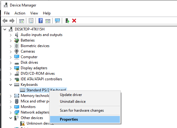 device manager keyboard