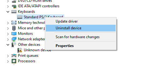 uninstall keyboard device