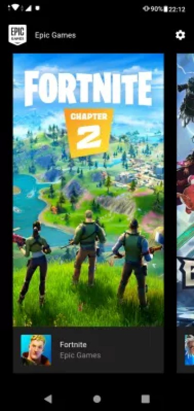 Download and install mobile Fortnite from the Epic store for Android : Game installation selection on Epic store for Android
