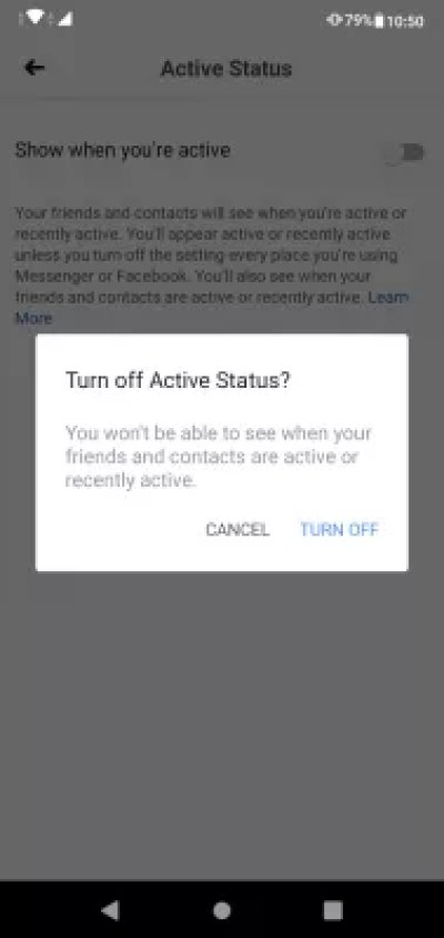How to appear offline on Facebook app and Messenger? : Turn off the show when you're active option