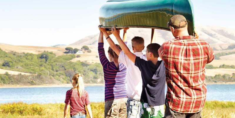 Family with Canoe