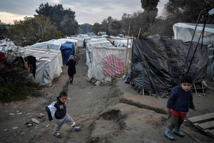 Child asylum seekers roam a makeshift camp on the Greek island of Chios (Image: Lehtikuva)