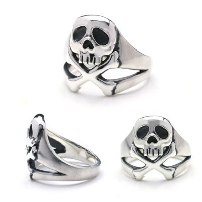 Space-Pirate-Captain-Harlock-Harlock-Scull-Silver-Ring-Japanese-Size-23-0