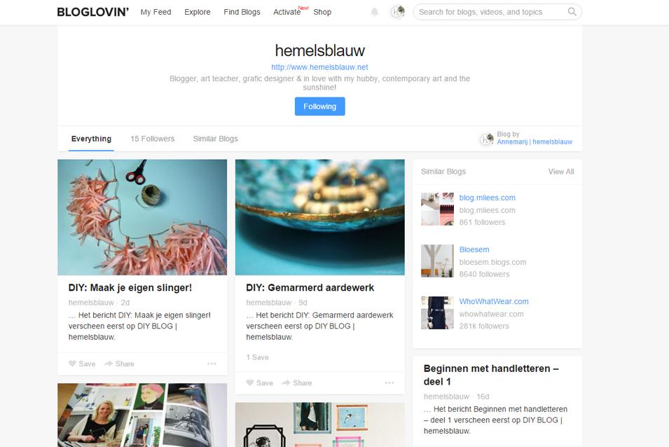 hemelsblauw bloglovin' favoriete blogs