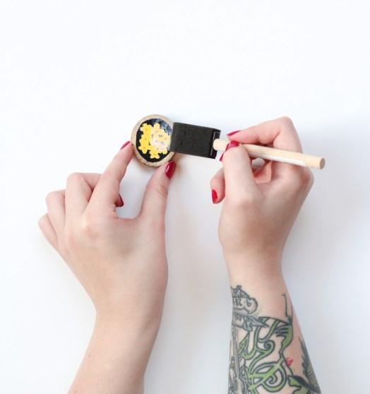 mod podge houten magneetjes