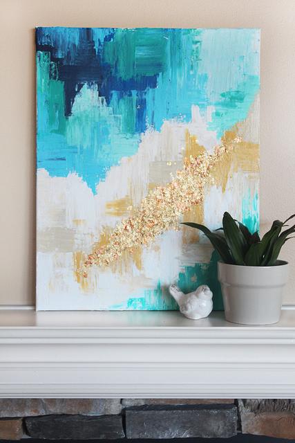 abstract schilderij muur hemelsblauw
