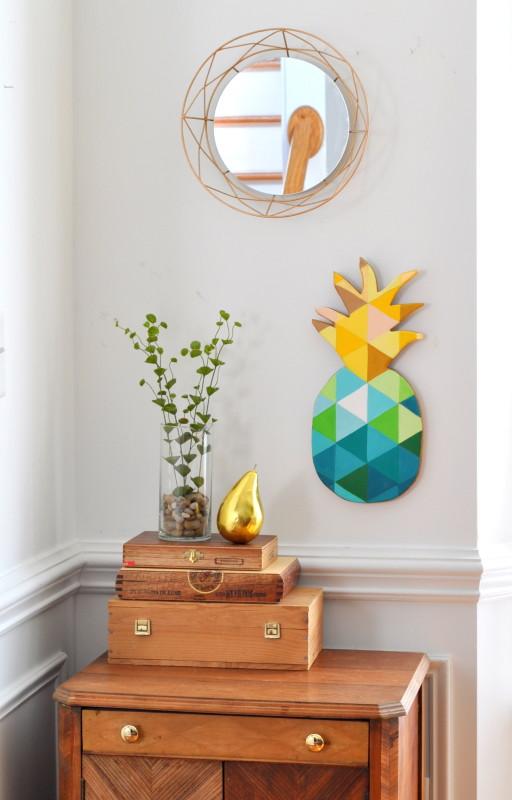 ananas hemelsblauw muur