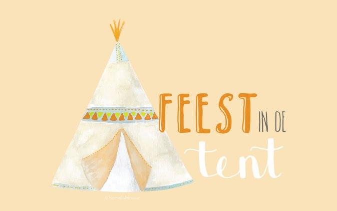 bureaublad achtergrond hemelsblauw - Feest in de tent