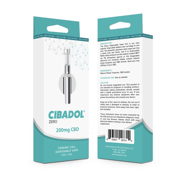 Cibadol ZERO - Ceramic Cell Disposable Vape Pen .5ml
