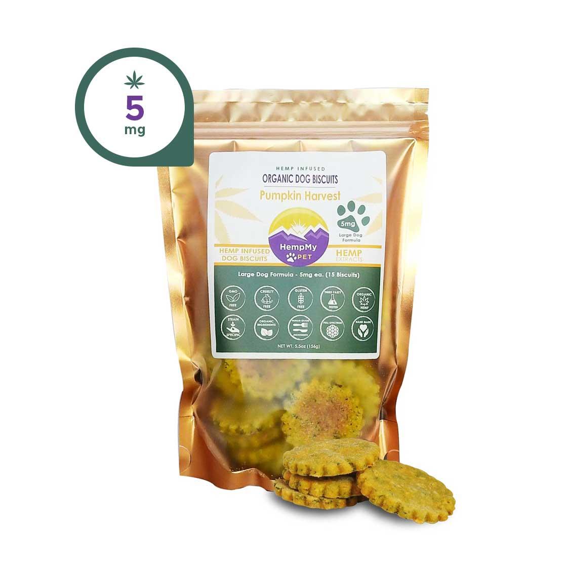 Hemp Dog Treats - 5mg CBD ea, Organic, Large Dog Formula, Pumpkin
