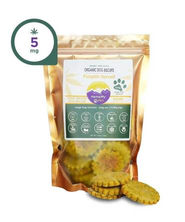 Hemp Dog Treats - 5mg CBD ea, Organic, Large Dog Formula, Pumpkin