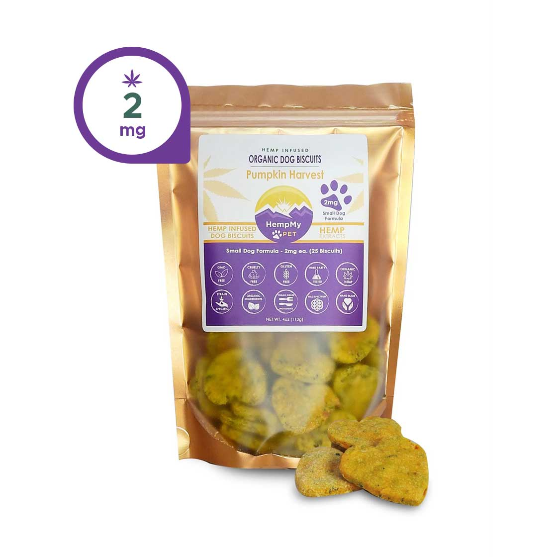 Hemp Dog Treats - 2mg CBD ea, Organic, Small Dog, Pumpkin