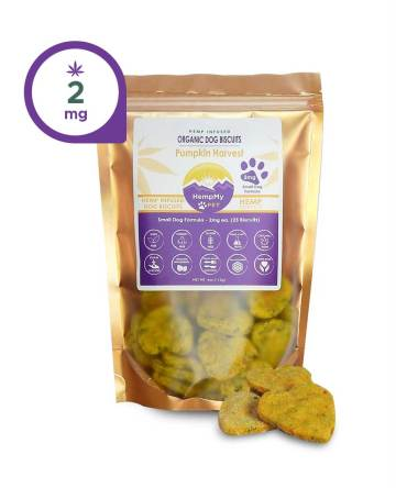 Hemp Dog Treats - 2mg CBD ea, Organic, Small Dog, Peanut Butter Banana