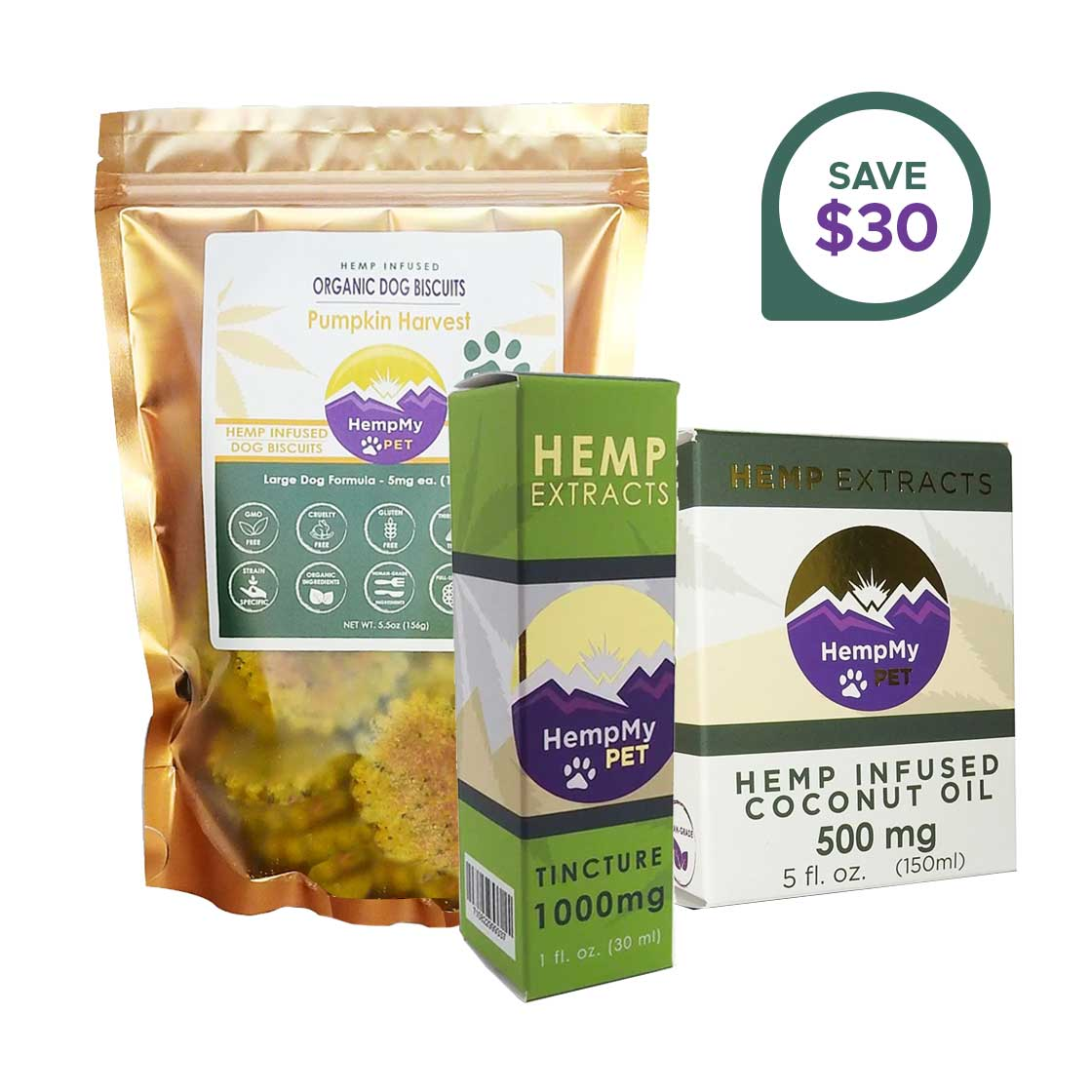 Hemp Wellness Bundle - CBD Infused, Organic - Large Dog Formula