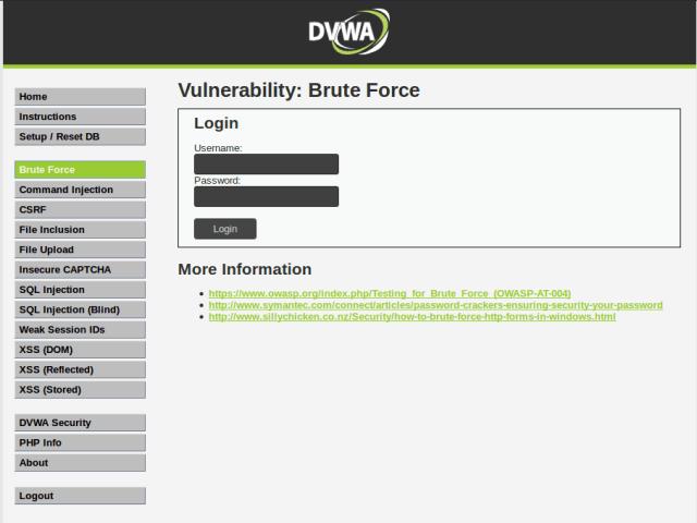 DVWA Brute force