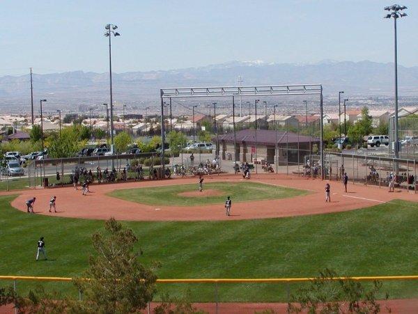 A baseball field at Anthem Hills Park in Henderson NV