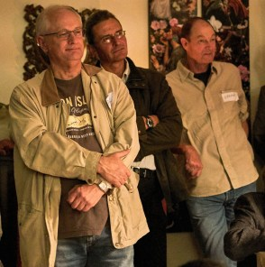 Rapt attention during one of the presentations: Paddy Attwell, Mark Mentz and Gregor Leigh | photo credit: Ken Barris