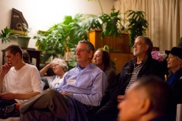 Rapt attention during oine of the presentations: Joshua Mentz, Cheryl Hewson, Ken Barris, Anri Barris, Carel Trichardt, Petru Wessels and in the foreground Ighsaan Francis (out of focus)
