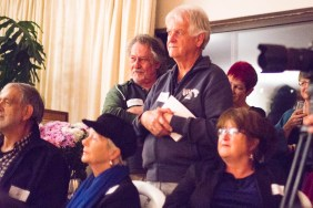 Rapt attention during one of the presentations: Carel Trichardt (partly obscured), Petru Wessels, Malcolm Doyle-Davidson, Norval Geldenhuys, Carol Smith (slightly obscured) and Doret Ferreira (slightly obscured)