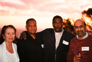 Helping Hennie launch his book, 'Enter': Jenny van Papendorp, Ighsaan Francis, Redewan Larney and Jaywant Parbhoo | photo credit: Tony Carr shooting with film (non-digital)