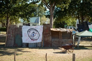 One of the structures forming part of the housing protest in Suurbraak