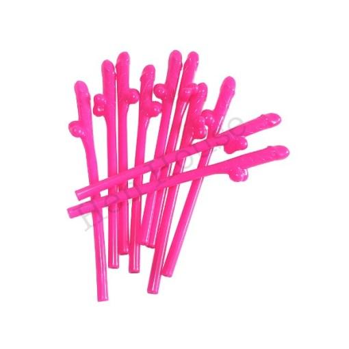 Hot Pink Penis Straws