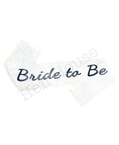 White Lace Bride to Be Sash