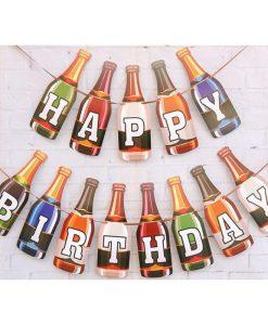 Beer Bottle Birthday Bunting Banner