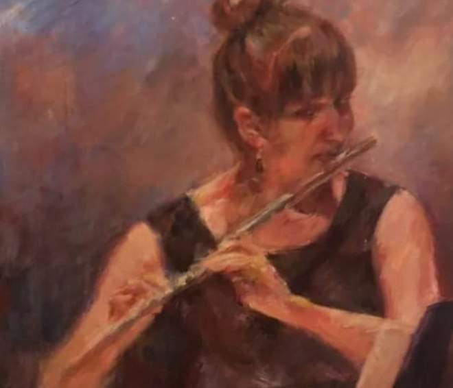 "Henia Flynn's ""Soloist"" Acrylic on Board 12"" x 12"""
