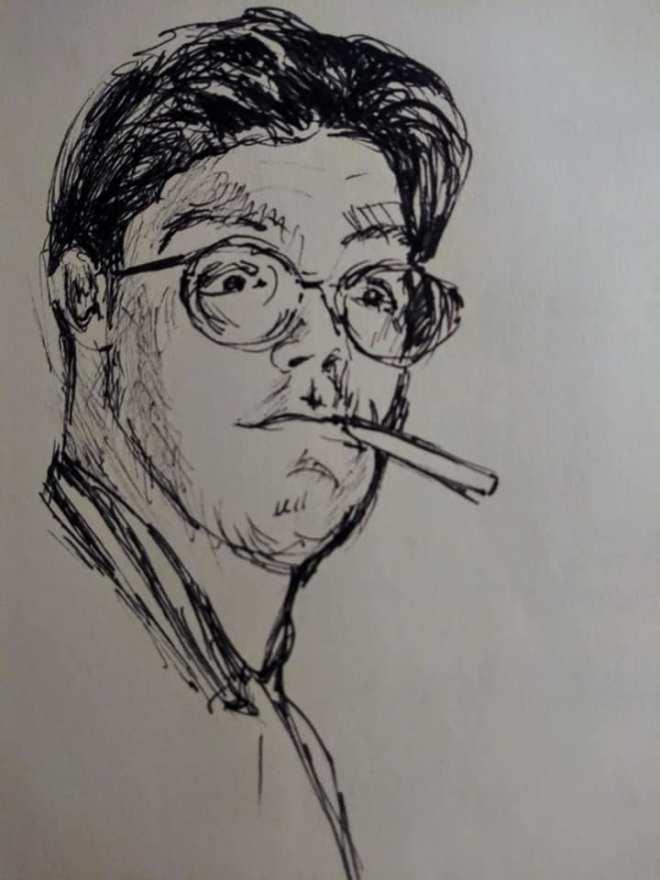 "Henia Flynn's ""Huh?"" Ink on Paper Sketch"