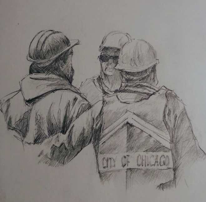 "Henia Flynn's ""City Workers"" Pencil on Paper"