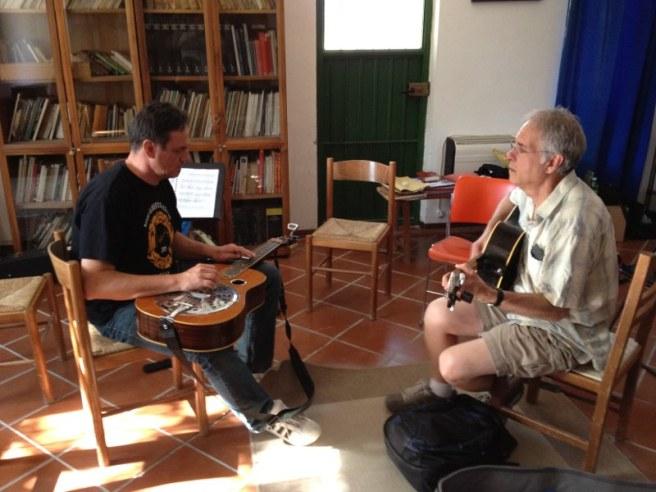 With Russ Barenberg at Minieracustica workshop 2012, Urbino, Italy