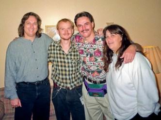 IBMA Owensboro, KY 1995, L-R: Jerry Douglas, Ondra Holoubek, HN, Sally Van Meter