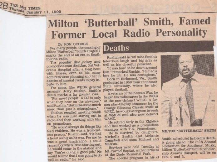 Butterball death notice in the Miami Times 1990