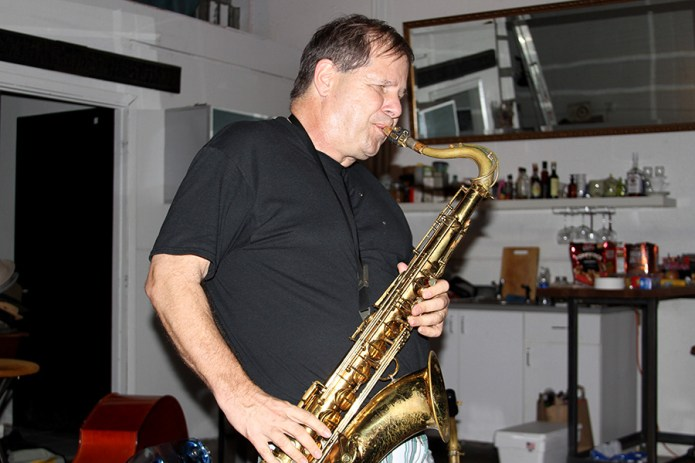 Jeff Zavac on sax at The Franchise studio in Lemon City, Miami
