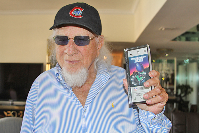 Henry Stone in 2013 with Superbowl 1979 Ticket