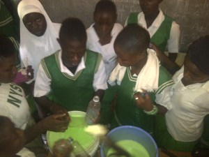 Students mixing the soap