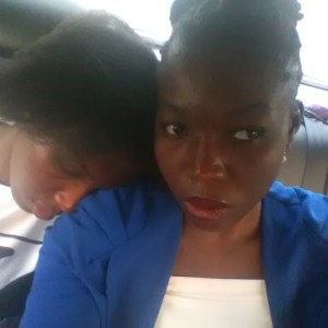 I and my sis, so tired, in traffic after the book reading. Haha