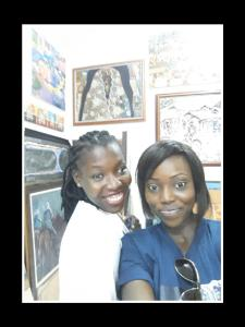I and Queenie at the third floor of the gallery..