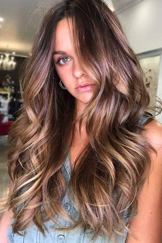 brunette-hair-ideas-wavy-long-brown-balayage-sleek-layered-cut