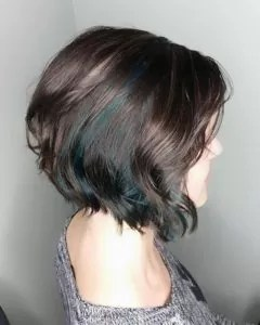 Emerald Green Balayage in Brown Hair