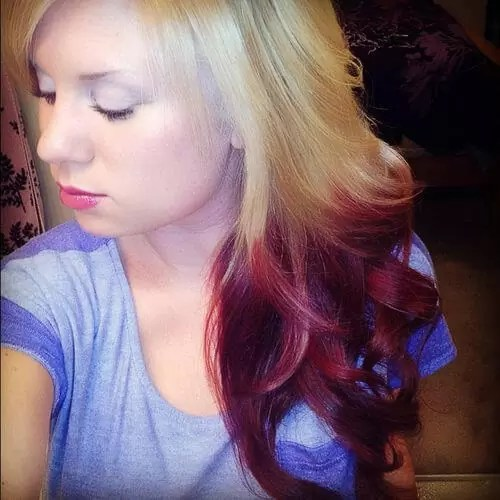 Blonde to red ombre reverse ombre hair