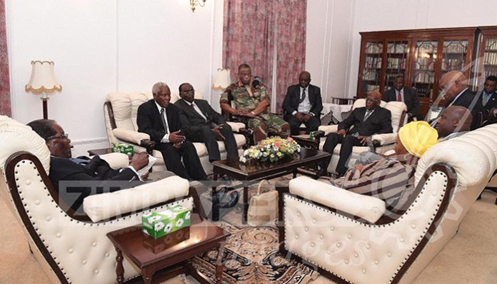 Latest images from Harare: President Mugabe meets ZDF Commander General Constantino Chiwenga, Father Fidelis Mukonori and South African envoys at State House this afternoon.