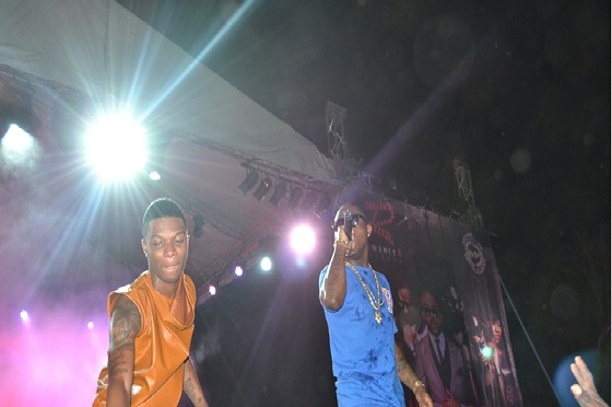 Wizkid and Davido performing together in 2012