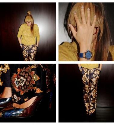 Beyonce-Instagram-JCrew-Paisley-print-Silk-Wide-leg-Pants-Alexander-Wang-Mustard-Dissolving-Herringbone-Pullover-Python-Print-Pumps--378x414
