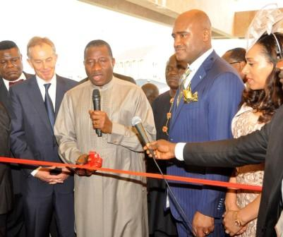 PIC 5.  FROM LEFT: FORMER BRITISH PRIME MINISTER, MR TONY BLAIR; PRESIDENT GOODLUCK JONATHAN;  SENIOR PASTOR,  ALL HOUSE ON THE CHURCH, REV'D PAUL ADEFARASIN AND HIS WIFE, IFEANYI, AT THE INAUGURATION OF THE ROCK CATHEDRAL METROPOLITAN CHURCH OF CHRIST IN LAGOS ON SATURDAY (20/4/13).