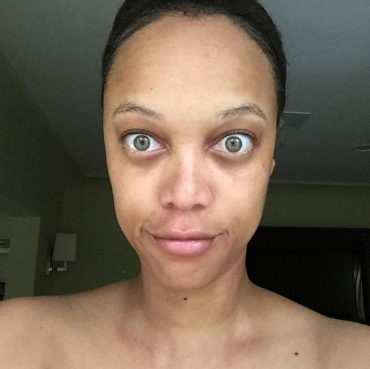 'RawAndReal': Tyra  posted this selfie showing her completely make-up free face on Instagram