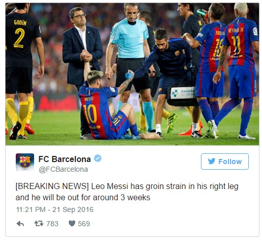 Messi out for three weeks with groin injury