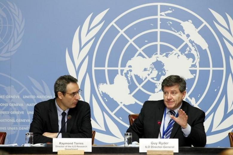 Director of the International Labour Organization (ILO) Research Department, Raymond Torres (L) and ILO Director-General, Guy Ryder address a news conference on World Employment and Social Outlook at the United Nations European headquarters in Geneva, Switzerland, January 19, 2016. REUTERS/Pierre Albouy